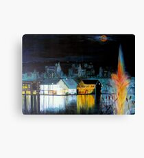 Lac ( Lake )  Bromont  Quebec  Nightscape            ( My Paintings )  Canvas Print