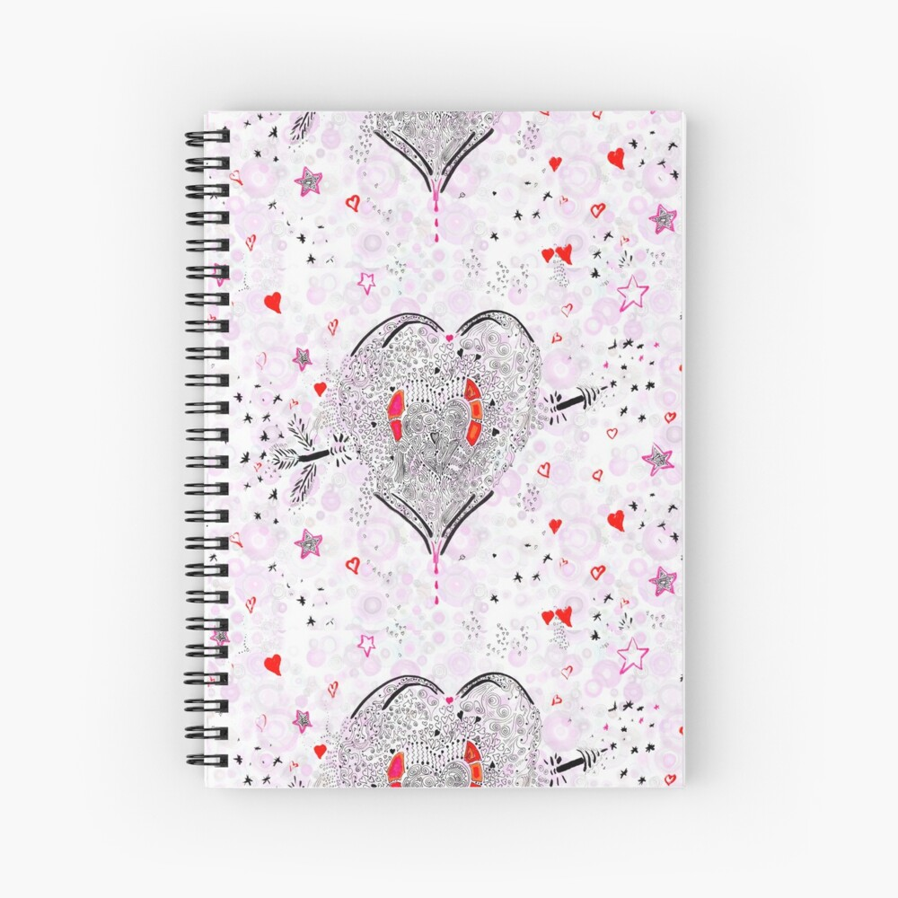 Heart overflowing valentines clothing and decor tile pattern 1 Spiral Notebook