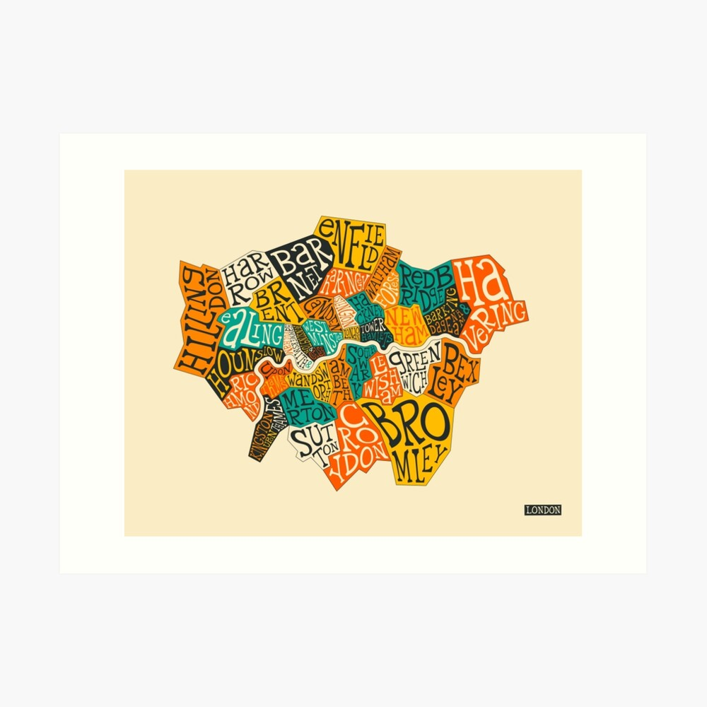 LONDON BOROUGHS MAP Art Print