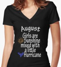 August Girls are sunshine mixed with a little hurricane  T-shirt, tshirt, hoodie, tee gift idea Women's Fitted V-Neck T-Shirt