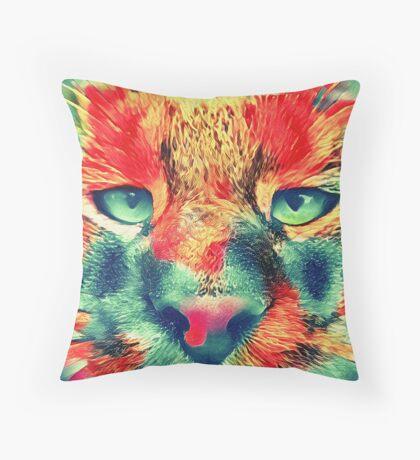 Artificial neural style wild cat Throw Pillow