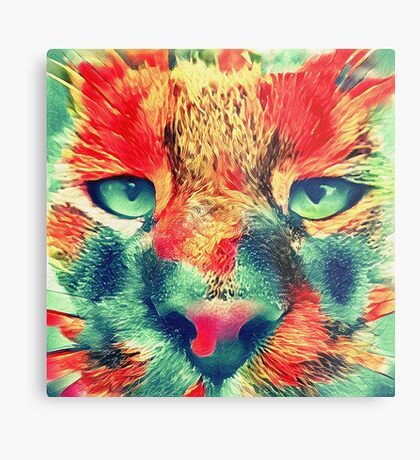 Artificial neural style wild cat Metal Print