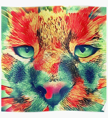 Artificial neural style wild cat Poster