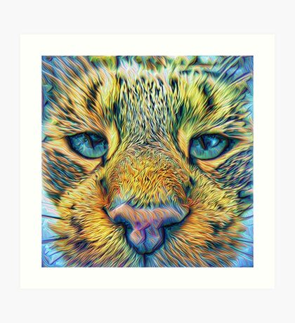 #DeepDreamed Cat v1449127170 Art Print