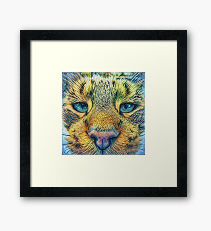 #DeepDreamed Cat v1449127170 Framed Print