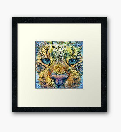 #DeepDreamed Cat v1449127170 Framed Print