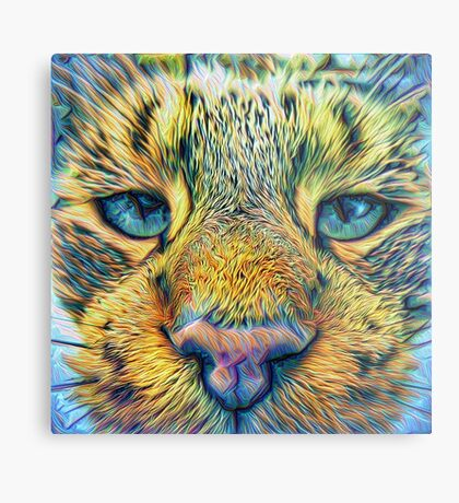 #DeepDreamed Cat v1449127170 Metal Print