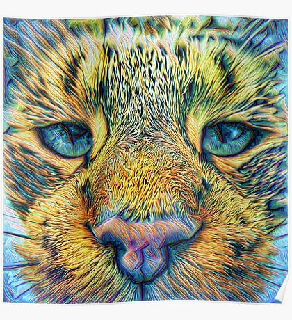 #DeepDreamed Cat v1449127170 Poster