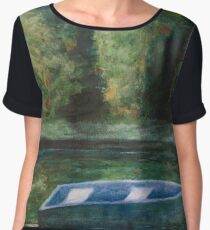 Rowboat and Reflections on the Quiet Pond Chiffon Top