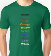 Resistor Code 9 - Colour Listing T-Shirt