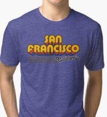 San Francisco, California | Retro Stripes Tri-blend T-Shirt