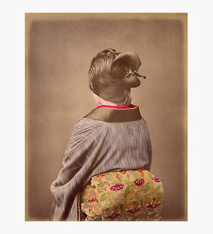 Japanese woman in Kimono from behind, 1890s Photographic Print