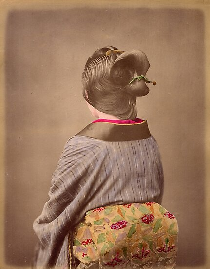 Japanese woman in Kimono from behind, 1890s by Fletchsan