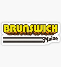 Brunswick, Maine   Retro Stripes Sticker