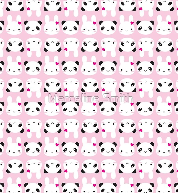 Super Cute Kawaii Bunny and Panda (Pink) by Marceline Smith