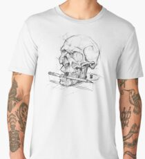 Skull + Pencil sketchy style psdelux Men's Premium T-Shirt
