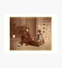 Japanese girls, meiji period, Japan Art Print