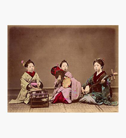 Japanese girls playing music, 1890s Photographic Print