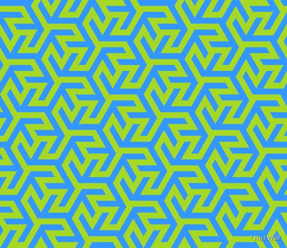 Geometric Pattern: Triskelion Fork: Blue/Green by * Red Wolf