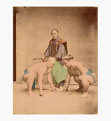 Sumo wrestlers, Japan, 1890s Photographic Print