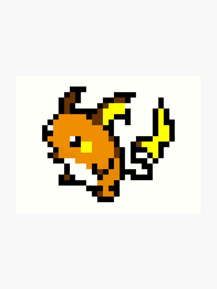 Pokemon 8 Bit Pixel Raichu 026 Art Print