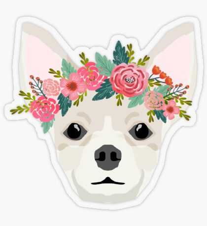 Chihuahua dog breed floral crown chihuahuas lover pure breed gifts  Transparent Sticker