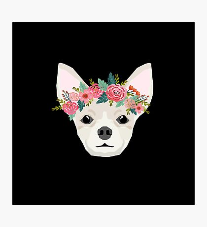 Chihuahua dog breed floral crown chihuahuas lover pure breed gifts  Photographic Print