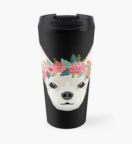 Chihuahua dog breed floral crown chihuahuas lover pure breed gifts  Travel Mug