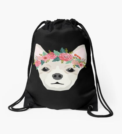 Chihuahua dog breed floral crown chihuahuas lover pure breed gifts  Drawstring Bag