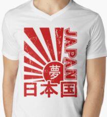 Vintage Japan Rising Sun Kanji T-Shirt Men's V-Neck T-Shirt
