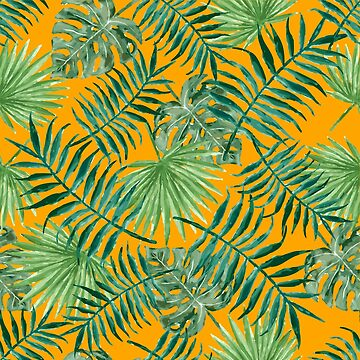 Tropical Palm Fronds and Ferns in Orange by elephantbay