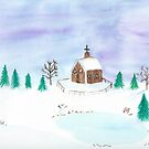 Winter In The Country Watercolor by daphsam