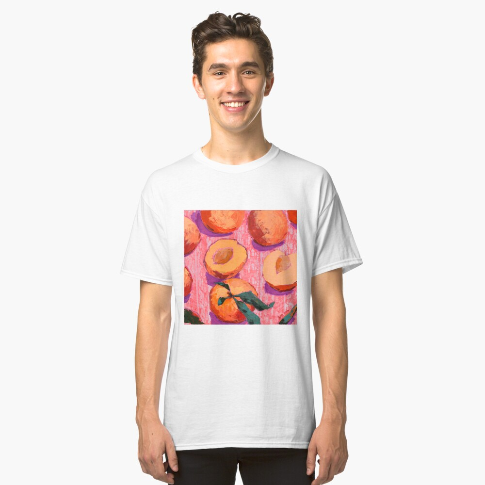 Peaches on Pink Background Classic T-Shirt