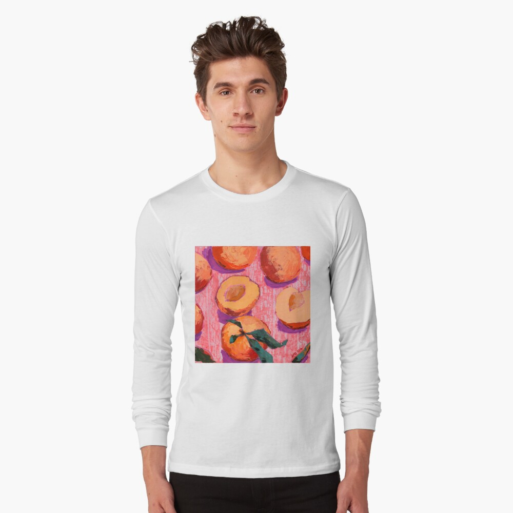 Peaches on Pink Background Long Sleeve T-Shirt