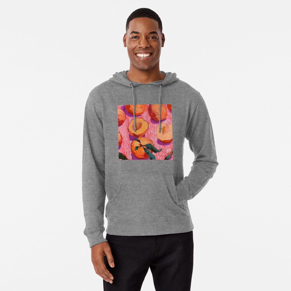 Peaches on Pink Background Lightweight Hoodie