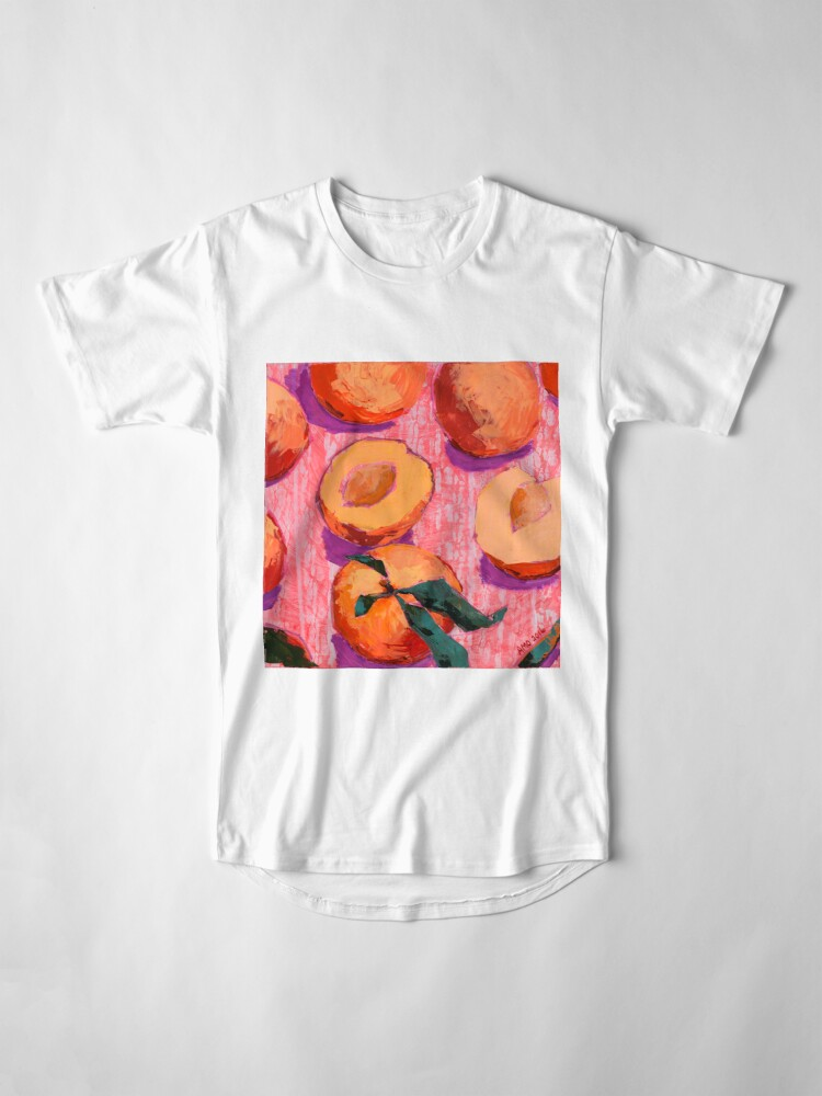 Alternate view of Peaches on Pink Background Long T-Shirt