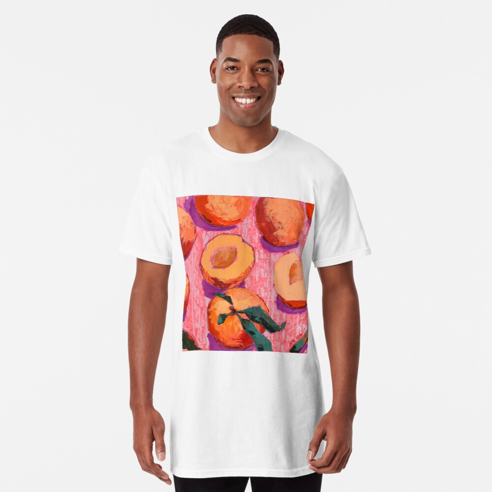 Peaches on Pink Background Long T-Shirt