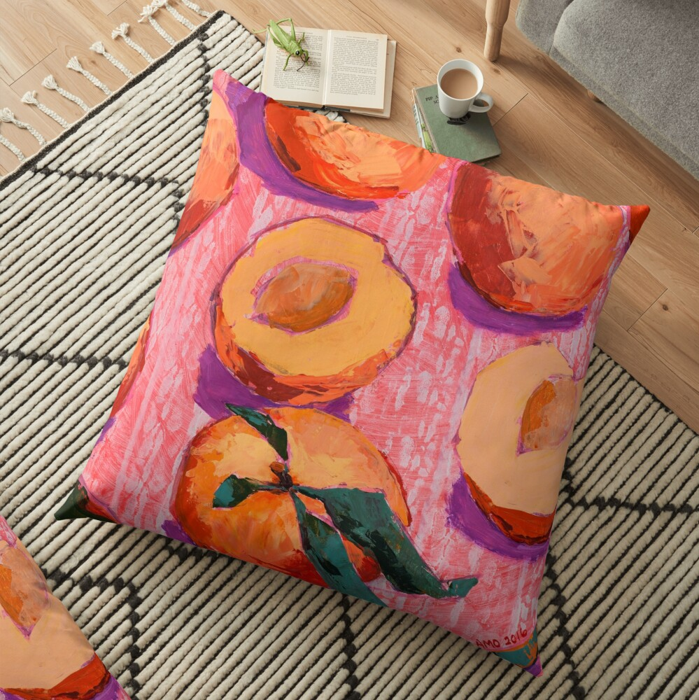 Peaches on Pink Background Floor Pillow