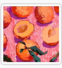 Peaches on Pink Background Sticker