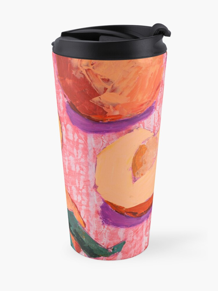 Alternate view of Peaches on Pink Background Travel Mug