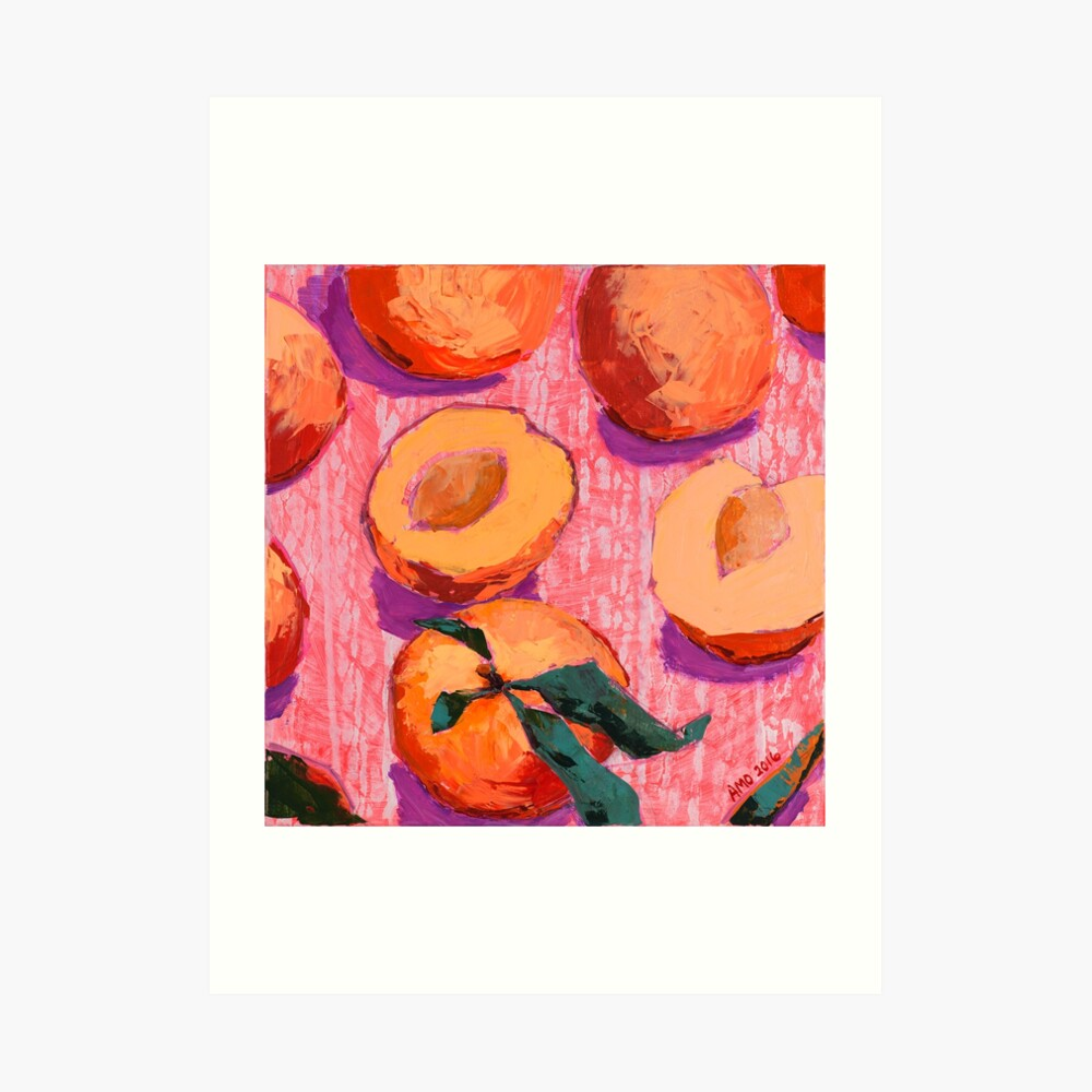 Peaches on Pink Background Art Print