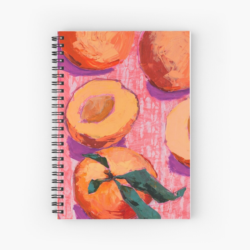 Peaches on Pink Background Spiral Notebook