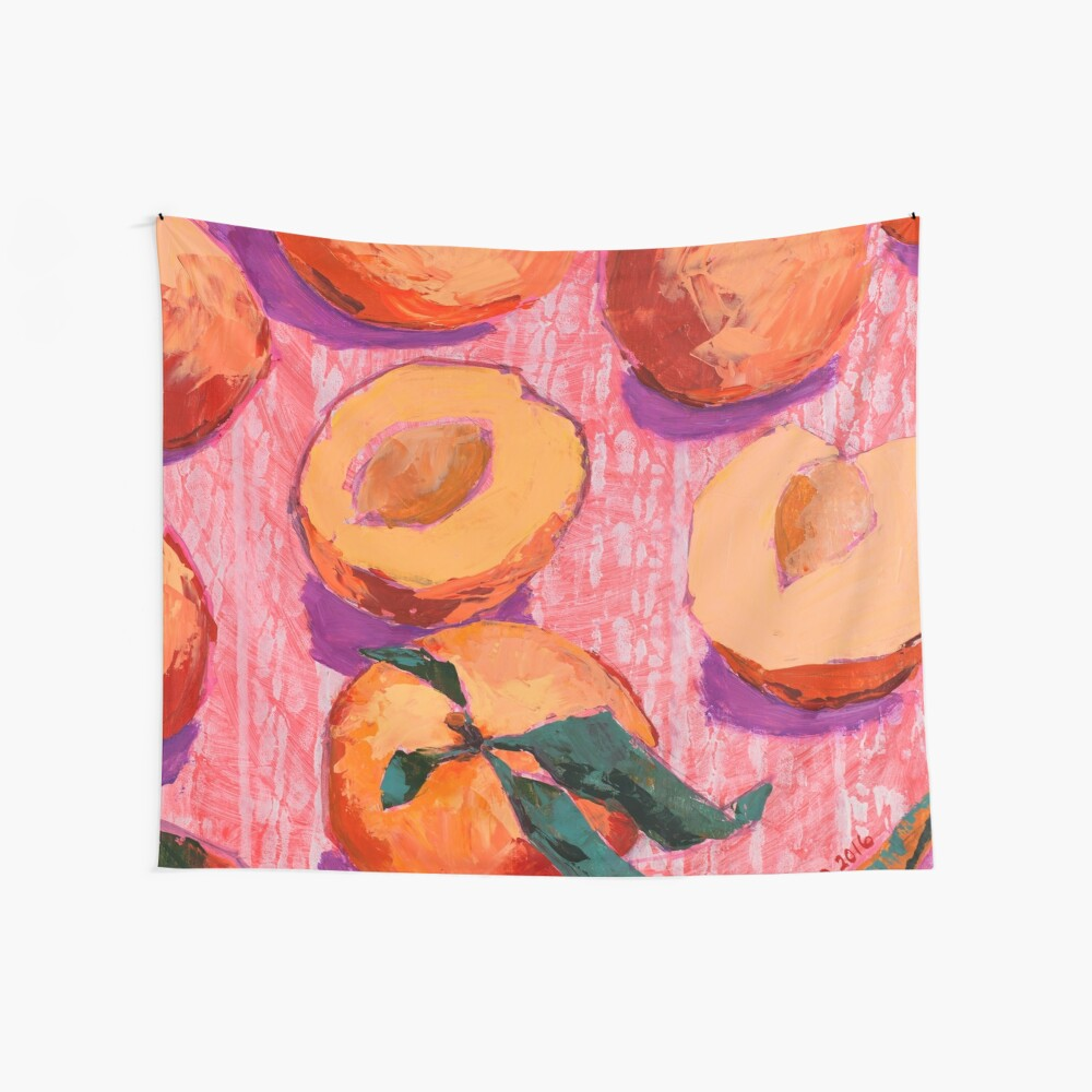 Peaches on Pink Background Wall Tapestry