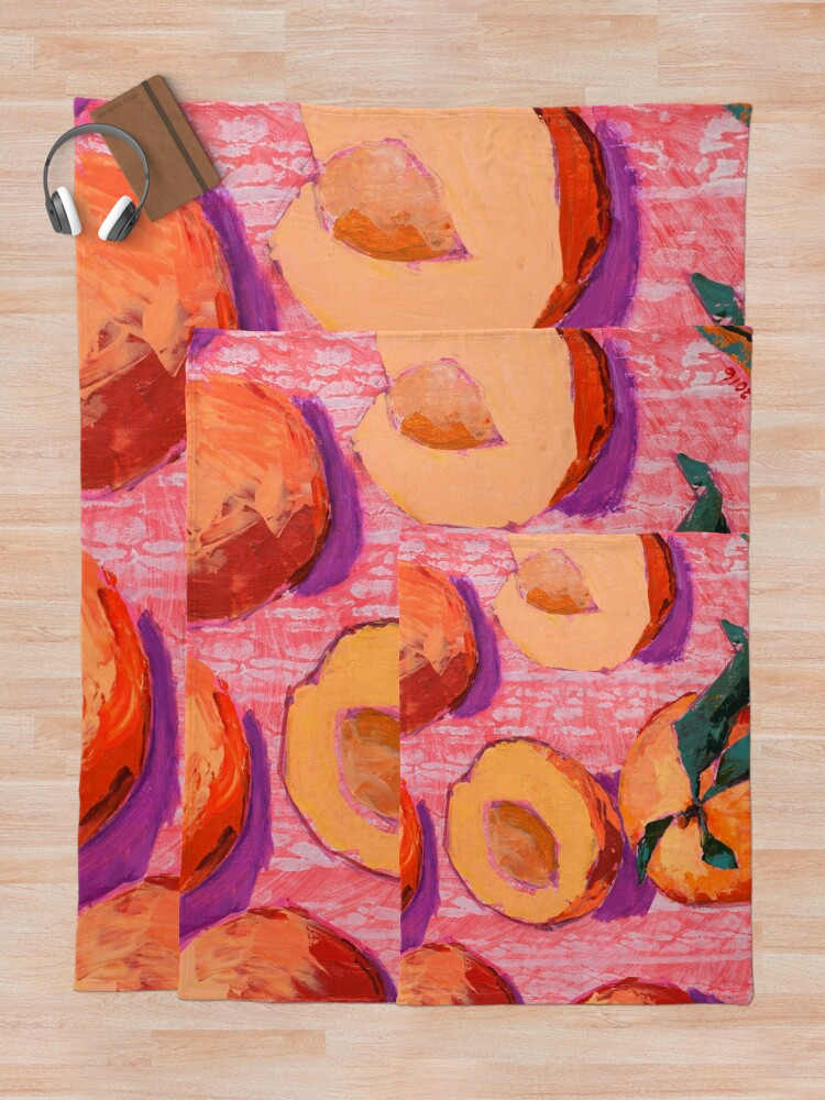 Alternate view of Peaches on Pink Background Throw Blanket