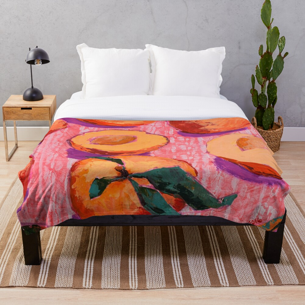 Peaches on Pink Background Throw Blanket