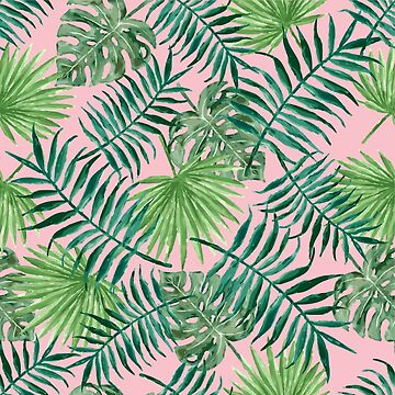 Tropical Palm Fronds and Ferns in Pink by elephantbay