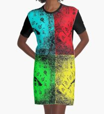 "Mah Jongg ""NEWS"" Pop Art Graphic T-Shirt Dress"