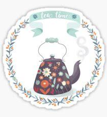Tea Time Floral Tea Kettle Sticker