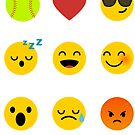 I Love, Like Softball Emoji, Emoticon Jersey Funny Saying Graphic by DesIndie