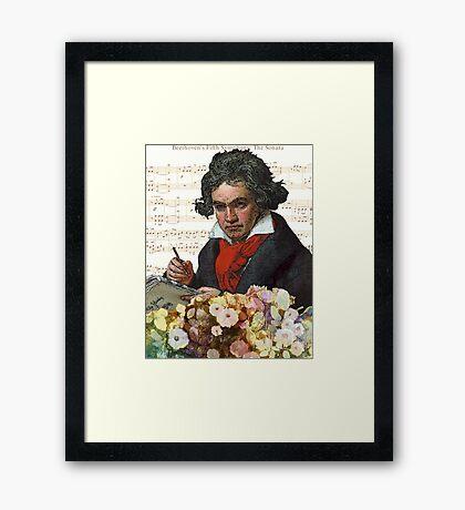 Ludwig von Beethoven Grunged III Framed Print